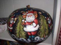 Large pumpkin gourd that I painted with Rosemary West in Harlingen, Texas. Blue Christmas, Christmas Arts And Crafts, Santa Crafts, Diy Crafts, Christmas Ornaments, Gourd Crafts, Christmas Things, Santa Paintings, Christmas Paintings