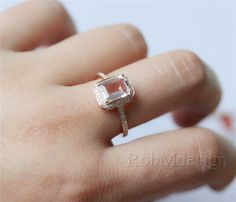 Emerald Cut 57mm Fancy Morganite Ring Halo Diamond by RobMdesign