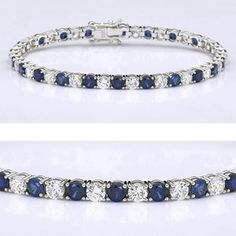 This classic cubic zirconia tennis bracelet features 0.25 carat each (4mm) brilliant round alternating with synthetic sapphire in a four-prong setting. An approximate 8.80 total carat weight, set in 14k white gold. This high quality cubic zirconia bracelet is 7 inches long, also available in different lengths and in 14k yellow gold via special order. Cubic zirconia weights refer to equivalent diamond carat size.