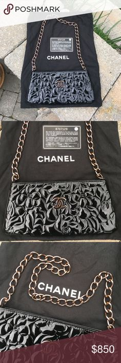 """Authentic Chanel Camellia Black Patent Pochette Absolutely gorgeous authentic Chanel Camellia Pochette!  This is a very rare style, purchased at Bergdorf Goodman.  Dust bag & authentication card included.  It's black patent leather with black leather piping & black nylon logo lining.  The hardware is so pretty!  It's not gold or rose gold, it's more of a dark or bronzy gold....so unique & stunning!  It's 9 3/8 in length at bottom, 8"""" long at top & strap drop is 9 3/4"""".  There is a center…"""
