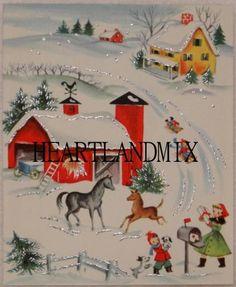Country Farm Glitter Vintage Card Thanksgiving by HEARTLANDMIX