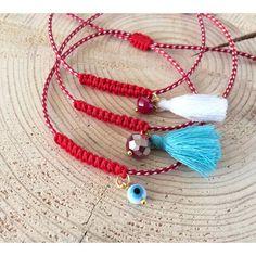 martakia, martis, march bracelet, red bracelet, greek martakia, greek jewelry, evil eye bracelet, protection jewelry, evil eye jewelry Evil Eye Jewelry, Evil Eye Bracelet, Tassel Bracelet, Macrame Bracelets, Greek Evil Eye, Beaded Jewelry, Beaded Necklace, Turtle Crafts, Greek Jewelry