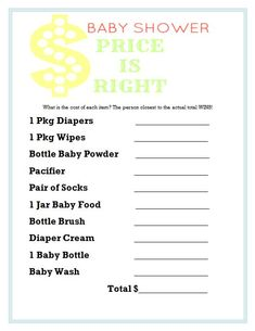 Baby Shower Price Is Right Printable Game