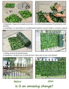 artificial plastic hedge fence for garden wall green life