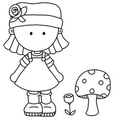 Girl with flower and mushroom