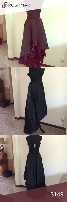 "WHBM Black hi low formal gown strapless size 2 NEW WHBM Black hi low formal satin gown strapless size 2. New with tags. Absolutely stunning gown! Tulle underlayer. Side zipper. Gathered ruffle bodice. Measures approximately 14 1/2"" chest, 12"" waist, 32"" front length, 56"" back length. Includes garment bag. Smoke free home. (A9) White House Black Market Dresses Strapless"