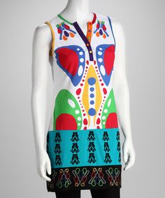 Take a look at the Coline USA White & Green Tunic - Women on #zulily today!