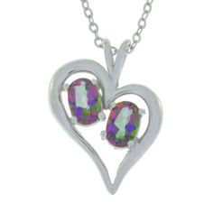 1 Ct Genuine Mystic Topaz Oval Heart Pendant .925 Sterling Silver