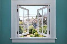 Fototapete Offene Fenster zum Hinterhof mit kleinen Schuppen.