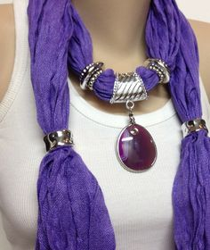 purple jewelry scarf long purple cotton necklace scarf with natural purple stone birthday chritstmas mothers day gift ideas Purple Love, All Things Purple, Shades Of Purple, Purple Jewelry, Funky Jewelry, Vintage Jewelry, Scarf Necklace, Scarf Jewelry, Jewellery