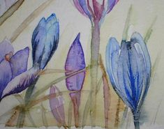 WATERCOLOUR PAINTING - CROCUSES - Original art An Original Watercolour Painting by Amanda Hawkins. A gorgeous floral painting in a loose contemporary style, ideal for your home, or as a gift. Would make a perfect wedding, anniversary, birthday, Mothers Day or Valentines Day present.