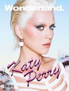 White hot: Katy Perry showed off platinum locks and lightened eyebrows on the summer cover...