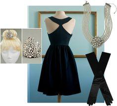 Costume complet de robe noire de audrey hepburn le par - Deguisement audrey hepburn ...
