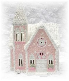 Pink Cottage-Style Church (Dept 56 Cottage) -- Sparkling Crystal Clear Glitter!