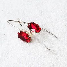 Long Red Crystal Earrings   Red Swarovski Earrings   Jenstar   Bidiliia Red Earrings, Crystal Earrings, Crystal Drop, Statement Rings, Swarovski Crystals, Handmade Jewelry, Jewelry Making, Daily Style, Uber
