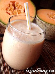 creamed cantaloupe smoothie: 1/2 cup ice, 1 cup fresh mature organic coconut milk, 1 1/2 cup cantaloupe, 1/4 of a ripe banana