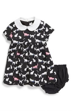 kate spade new york kids 'kimberly' cat print fit & flare dress & bloomers (Baby Girls) available at #Nordstrom