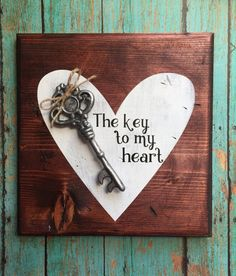 Key to my heart decorative wood sign by TheSkiShack on Etsy