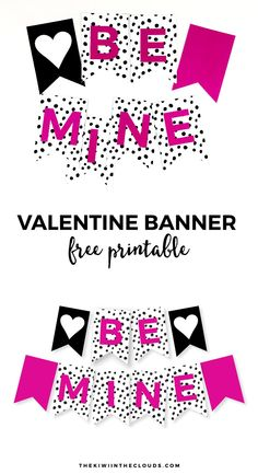 Free Printable Valentine Banner   Come download this FREE printable Valentine's day banner to decorate your home in a snap!