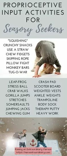 If your ADHD kid is a sensory seeker, these will help! Proprioceptive Input - Daily Activities To Calm Sensory Seekers · Raising An Extraordinary Person Sensory Therapy, Therapy Activities, Toddler Activities, Daily Activities, Physical Activities, Autism Sensory Activities, Motor Activities, Proprioceptive Activities, Proprioceptive Input