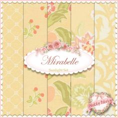 "Mirabelle  5 FQ Set - Sunlight By Fig Tree For Moda Fabrics: Mirabelle is a collection by Joanna Figueroa of Fig Tree & Co for Moda Fabrics.  100% cotton.  This set contains 5 fat quarters, each measuring approximately 18"" x 21""."