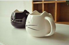 2016卸売雑貨ローション コーヒー カップ黒と白猫の動物の ミルク カップ セラミック愛好マグカップ かわいい誕生日ギフト 、 クリスマス ギフト(China (Mainland))