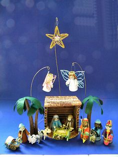 Nativity. Love the angels and the star, all on wire stands.