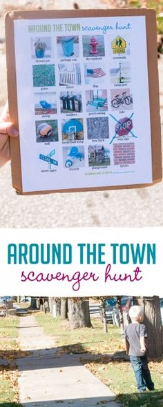 Print off a free printable for an Around the Town Scavenger Hunt for kids of all ages (different variations to try)