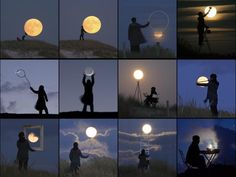 Cottage Life Creative Moon Pics by Photographer Laurent Laveder. Bucket list, to take pictures with the moon:) Forced Perspective, Shoot The Moon, Moon Pictures, Moon Pics, Theme Pictures, Funny Pictures, Moon Photography, Amazing Photography, Creative Photography
