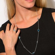 Layering Necklaces Blue Multi Gemstone Station Necklace in Sterling Silver at Liliana Skye