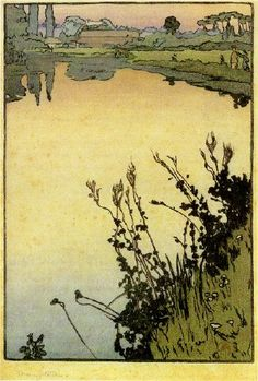 "Frank Morley Fletcher (American/ British, 1866-1949)  ""Meadowsweet,"" c. 1897  color woodcut"