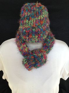 Hand made loom knitted adjustable infinity scarf and hat set for child by knittedbydesign on Etsy