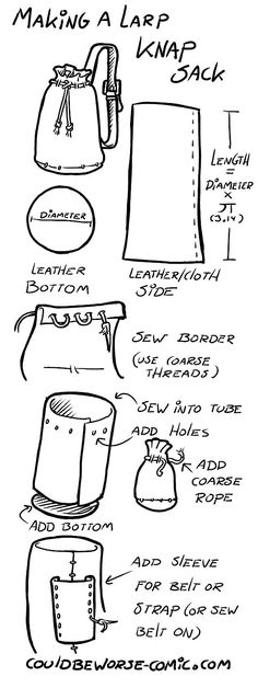 How-to-LARP-Sack. can find Larp and more on our website. Cosplay Tutorial, Cosplay Diy, Simple Cosplay, Sewing Hacks, Sewing Crafts, Sewing Projects, Diy Crafts, Sewing Ideas, Leather Projects
