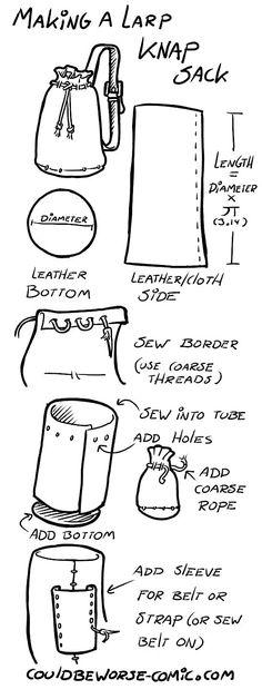 Een In Spel tas is handig om je spullen in mee te nemen. Hier een Engelse uitleg om er zelf een te maken.: