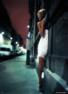 Vogue UK May 1998'Night Life' - Amber Valletta by Nathaniel Goldberg, scan via kelles @ TFS
