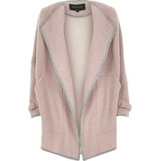 River Island Light purple wool blend drape slouchy coat ($80) ❤ liked on Polyvore featuring outerwear, coats, jackets, casaco, coats & jackets, sale, pastel coat, brown coat, slouchy coat and river island