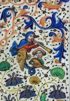 El bufón flautista y su ayudante. Horas de Leonor de la Vega f. 39v http://bdh-rd.bne.es/viewer.vm?id=0000048889 @BNE_biblioteca