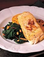 Pan-seared Cod With Garlic Greens And Parmesan Polenta Toasts from Shape