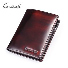 CONTACT'S Italian Burnished Leather Wallet With Coin Bag Trifold Small Men Wallet With Credit Card Holder Brand Leather Purse