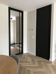 Steel look doors - - Living Room Flooring, Home Living Room, Black Interior Doors, Apartment Interior, Living Room Inspiration, Hallway Designs, Interior Design Living Room, New Homes, House Styles