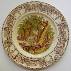 Vintage English Brown Transferware Plate Mother Child Dog Woodcutter R – Nancy's Daily Dish