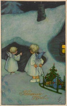 CARL LINDEBERG sign - 2 ENGEL mit Schlitten klopfen an die Tür, M&B - 1928   eBay