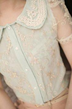 Elegant pastel mint lace blouse