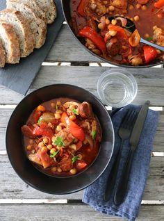 Kyllinggryte med chorizo og paprika Food N, Food And Drink, Couscous, Chorizo, Bruschetta, Guacamole, Nom Nom, Curry, Healthy