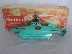 Huzzah! ~~ English Sutcliffe 1954 'Nautilus' Submarine, from Walt Disney movie '20,000 Leagues Under The Sea'. (Wind-Up Clockwork)