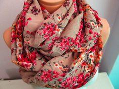 PinkFlowery Infinity Scarf,Shawl Circle Scarf,Loop scarf by madamesoho