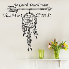 Wall Decals Quote To Catch Your Dream Vinyl Sticker Amulets Feather Arrow Boho Bedding Dream Catcher Decal Home Decor Bohemian Dear Buyers, Welcome