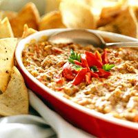 hot artichoke and roasted pepper asiago cheese dip...