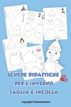 Art Drawings For Kids, Preschool Games, Kindergarten Worksheets, Winter, Family Guy, Seasons, Crafts, Winter Time, Snow