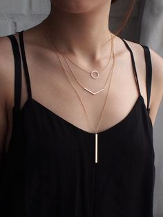 Chevron Necklace in Sterling Silver, Gold Fill or Rose Gold Fill. Simple Min… Chevron Necklace in Sterling Silver, Gold Fill or Rose Gold Fill. Simple Minimal Necklace – Modern and elegant everyday jewelry. Layered Necklace Set, Layered Jewelry, Layering Necklaces, Chevron Necklace, Circle Necklace, Layer Necklace, Necklace Chain, Pendant Necklace, Dainty Jewelry